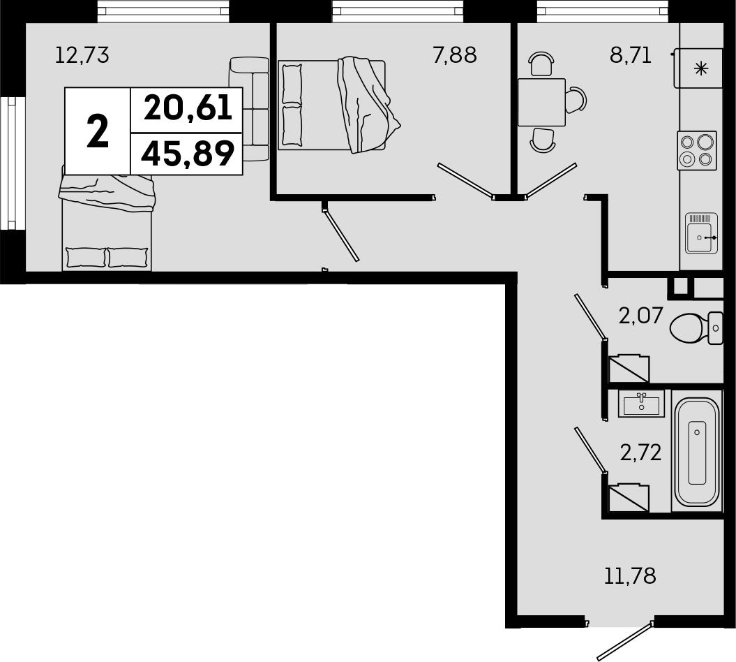 2-комнатная, 45.89 м²– 2