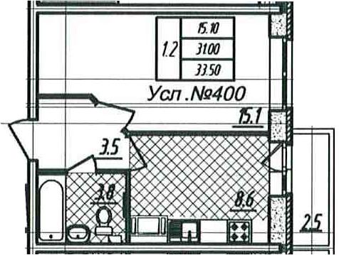 1-к.кв, 31 м², 9 этаж