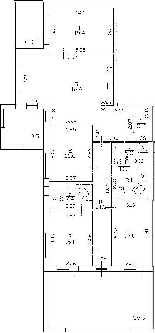 5Е-комнатная квартира, 173.4 м², 1 этаж – Планировка