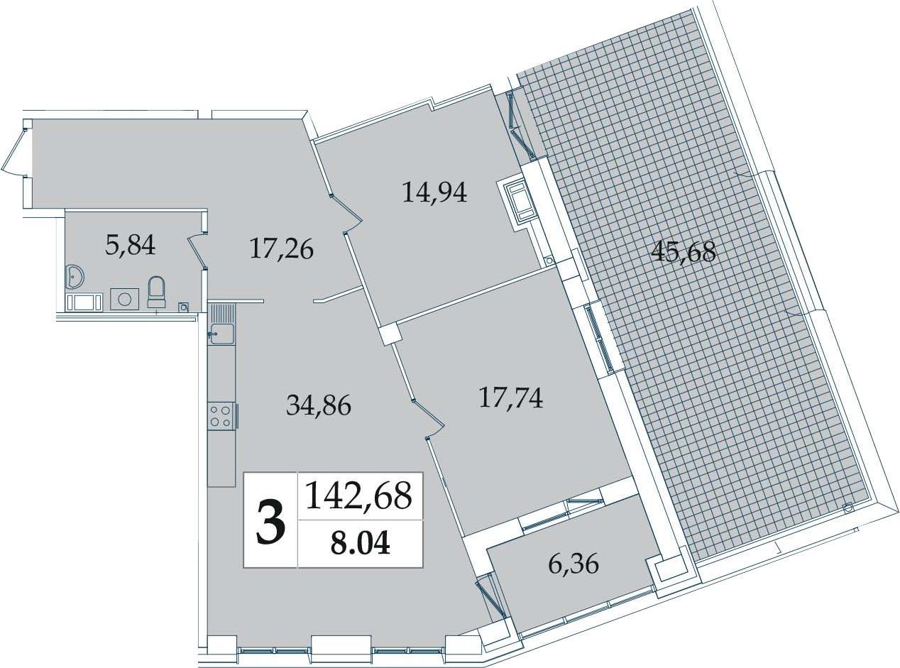 3-к.кв (евро), 141.4 м²