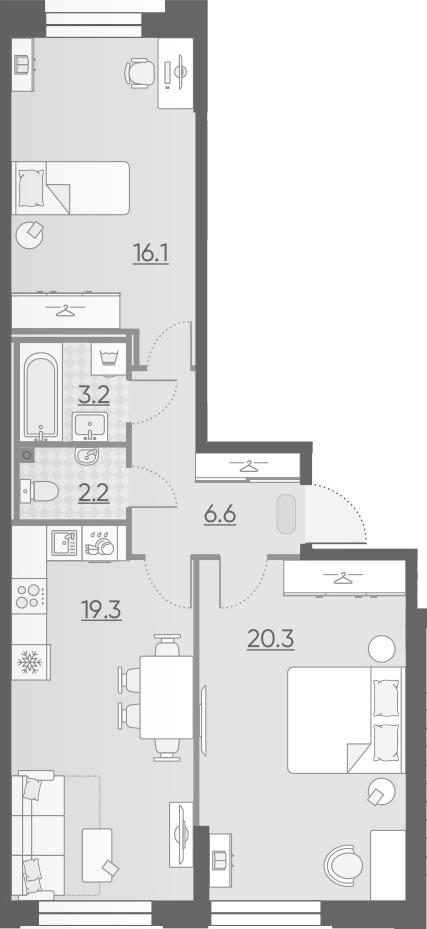 3Е-к.кв, 67.7 м², 2 этаж