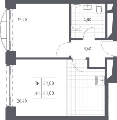 2Е-к.кв, 41 м², 14 этаж