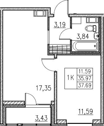 2Е-комнатная, 37.69 м²– 2