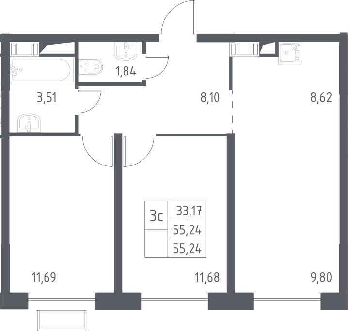 3Е-комнатная, 55.24 м²– 2