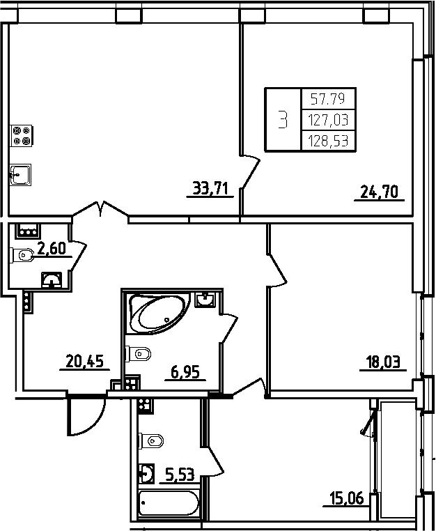 4Е-комнатная, 128.53 м²– 2