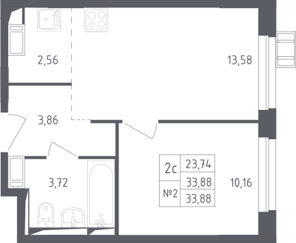 2Е-к.кв, 33.88 м², 17 этаж