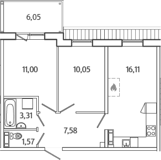 3Е-к.кв, 51.44 м²