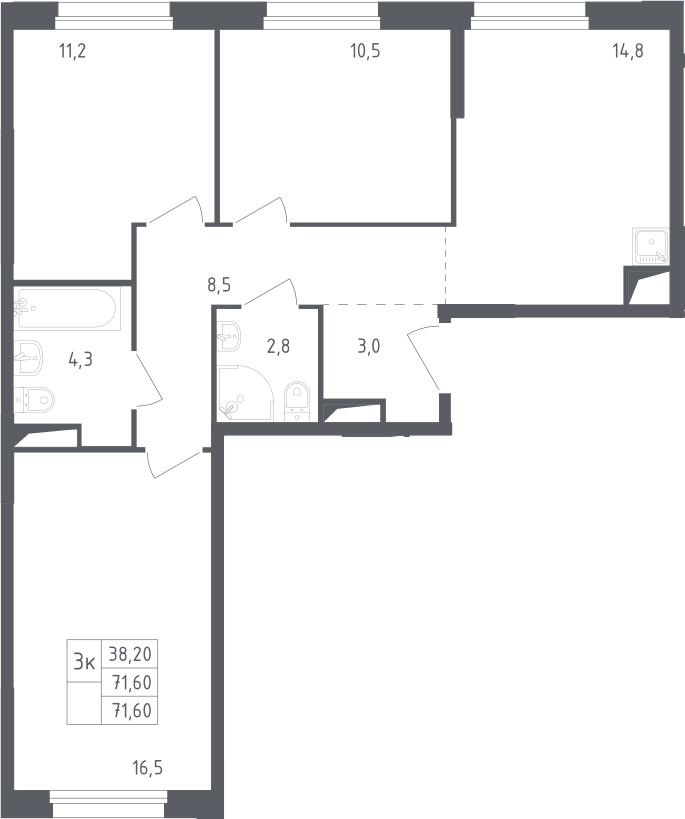 3-к.кв, 71.6 м²