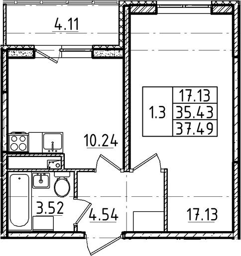 1-комнатная, 37.49 м²– 2