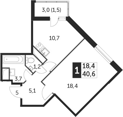 1-к.кв, 40.3 м², от 7 этажа
