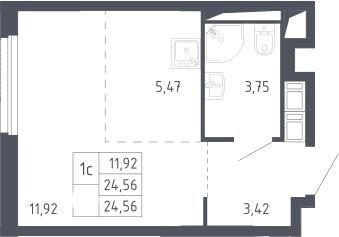 Студия, 24.56 м²