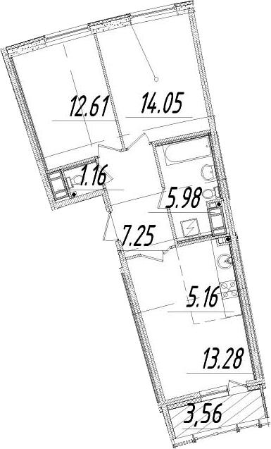 3Е-комнатная, 61.27 м²– 2