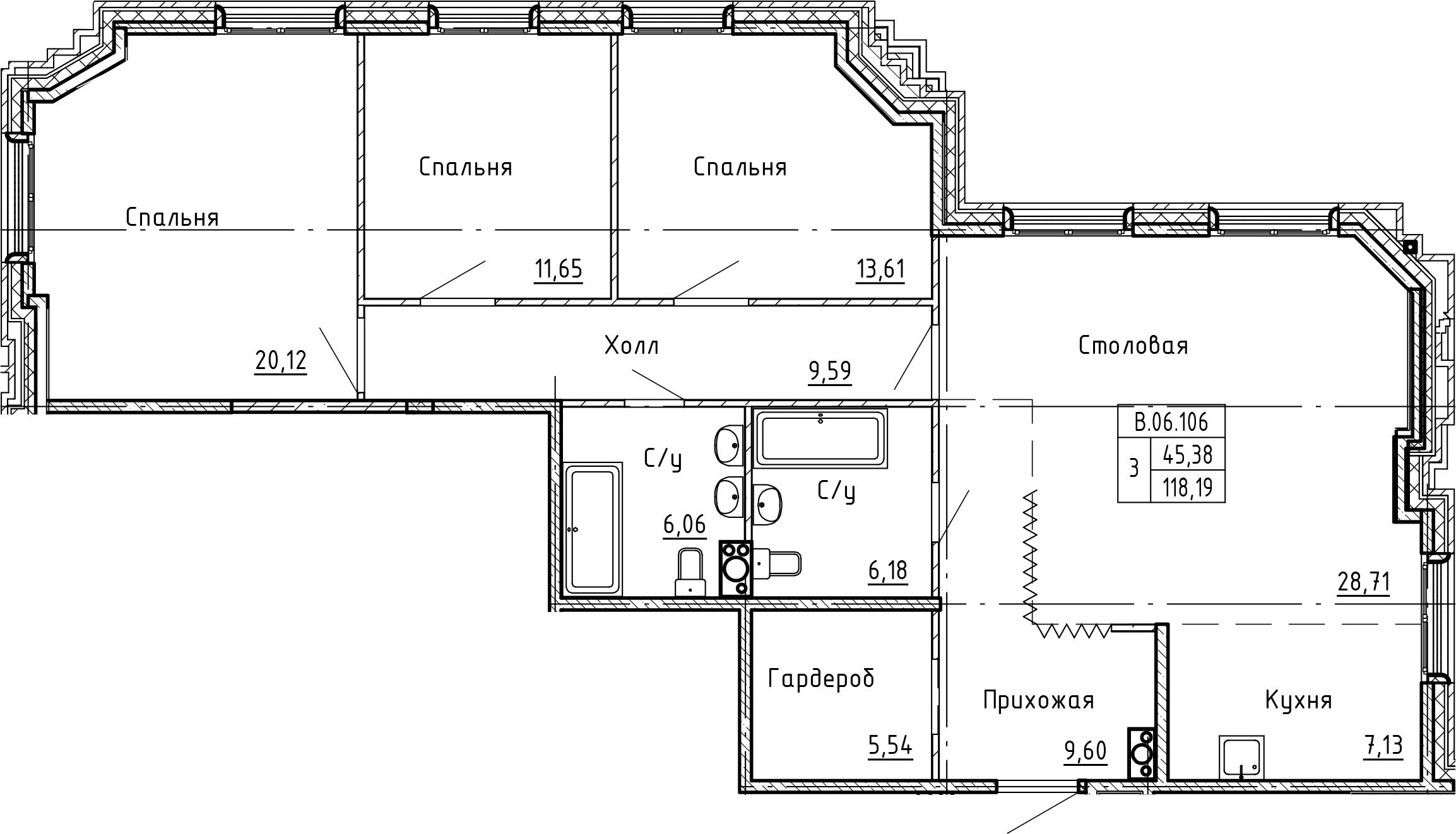 4Е-комнатная, 118.19 м²– 2