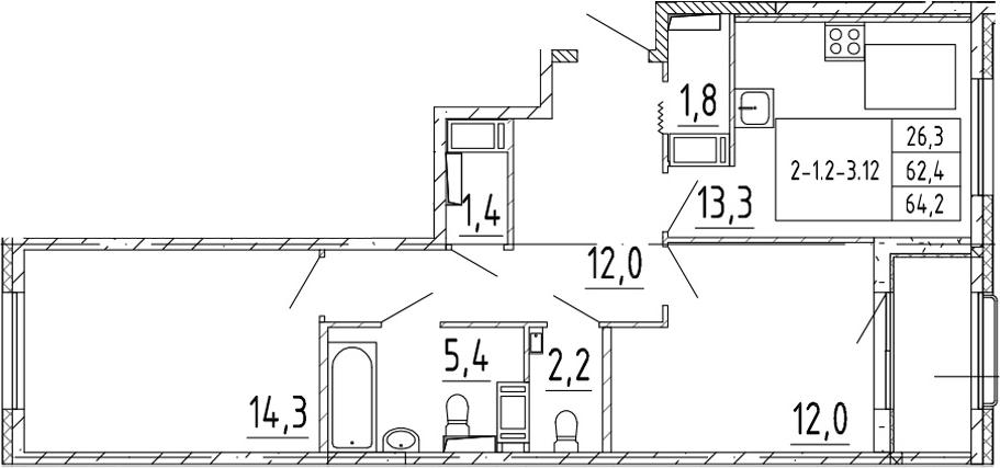 2-комнатная квартира, 64.2 м², 3 этаж – Планировка