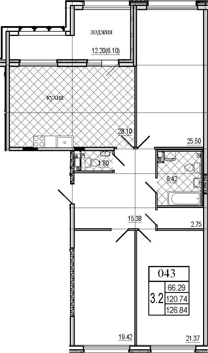4Е-комнатная, 126.84 м²– 2