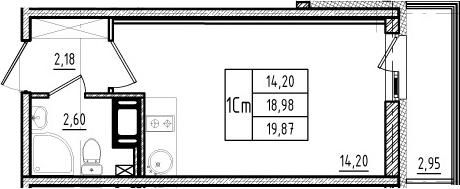 Студия, 18.98 м²