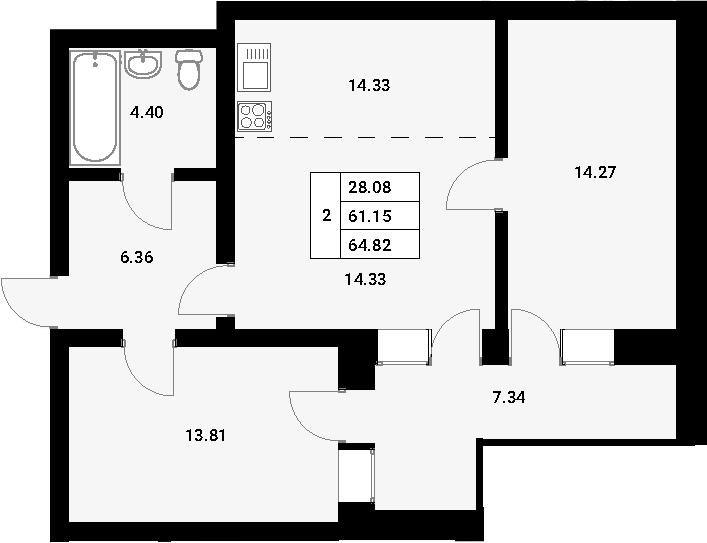 3-к.кв (евро), 68.49 м²