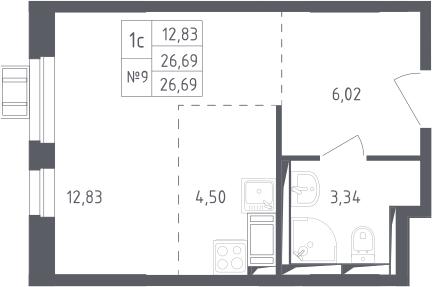 Студия, 26.69 м²– 2