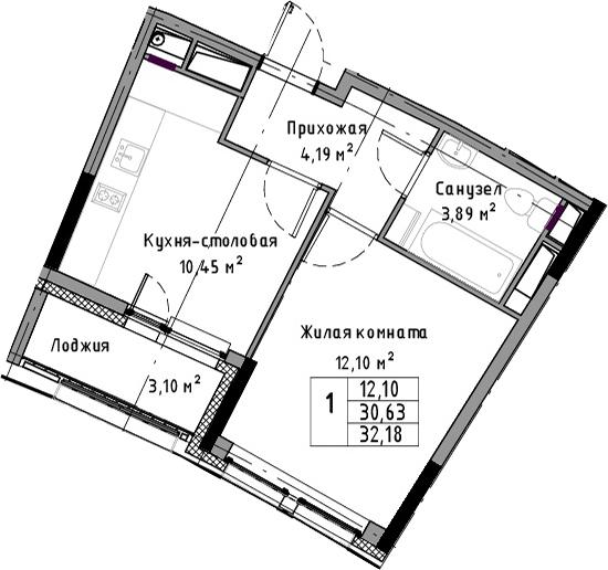 1-к.кв, 32.18 м²
