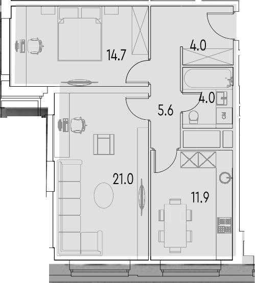 2-к.кв, 61.2 м²