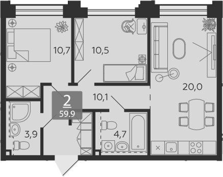 3Е-комнатная, 59.9 м²– 2