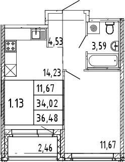 2Е-комнатная квартира, 35.25 м², 11 этаж – Планировка