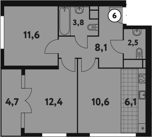 3-к.кв (евро), 59.85 м²