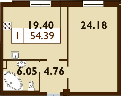 2-к.кв (евро), 54.39 м²