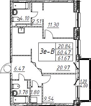 3Е-к.кв, 61.67 м², 5 этаж