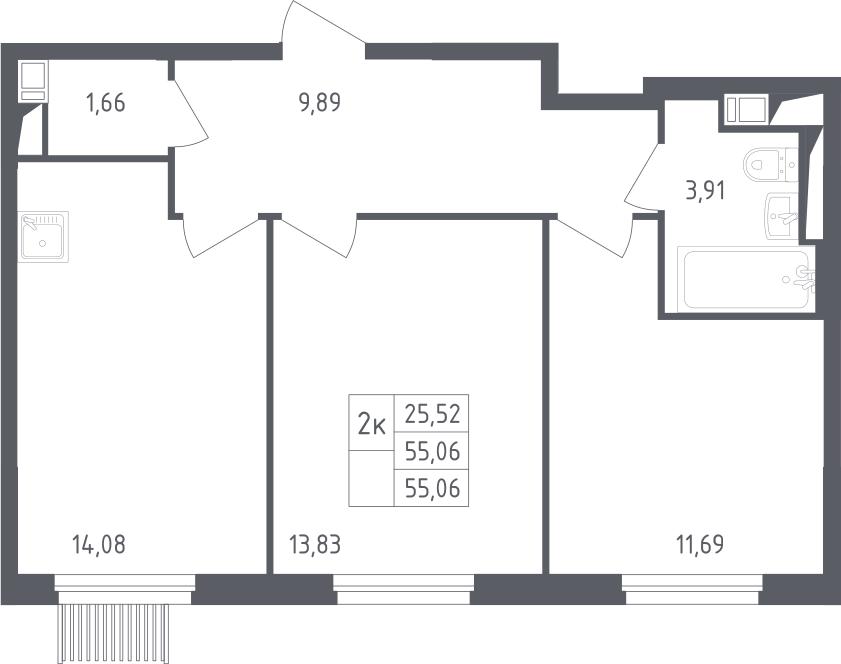 2-комнатная, 55.06 м²– 2