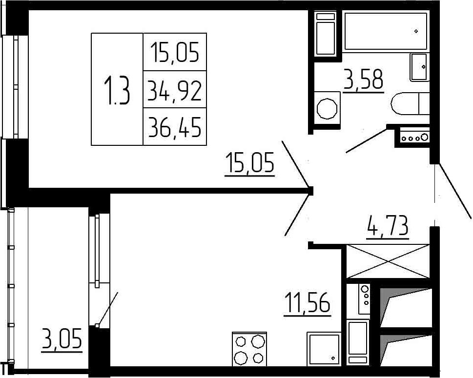 1-к.кв, 34.92 м², 3 этаж