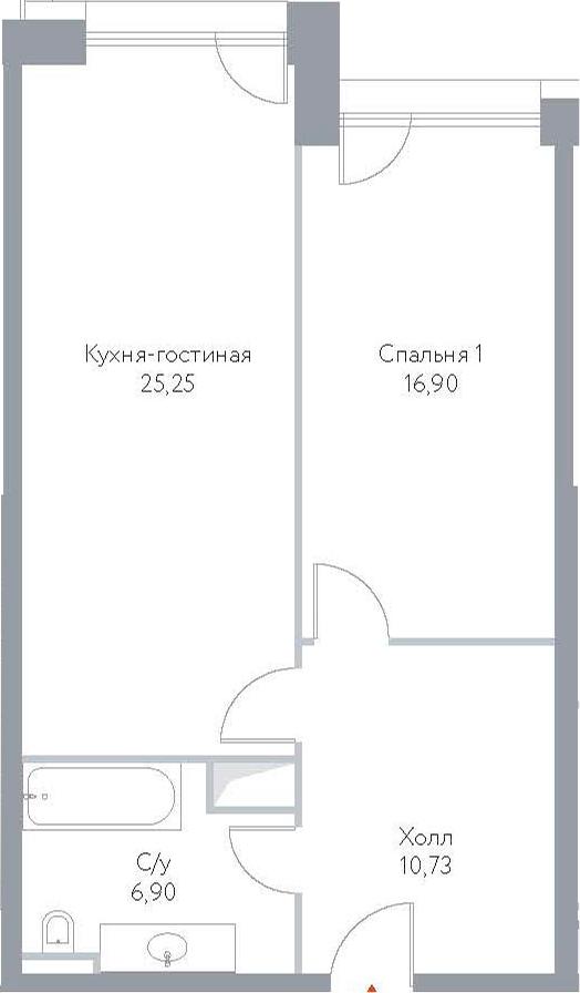 2Е-к.кв, 59.78 м², 12 этаж