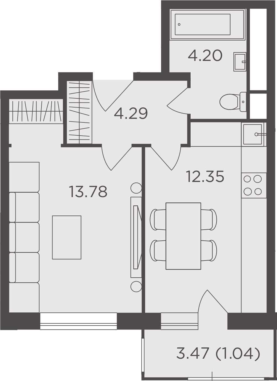 1-к.кв, 35.66 м², 23 этаж
