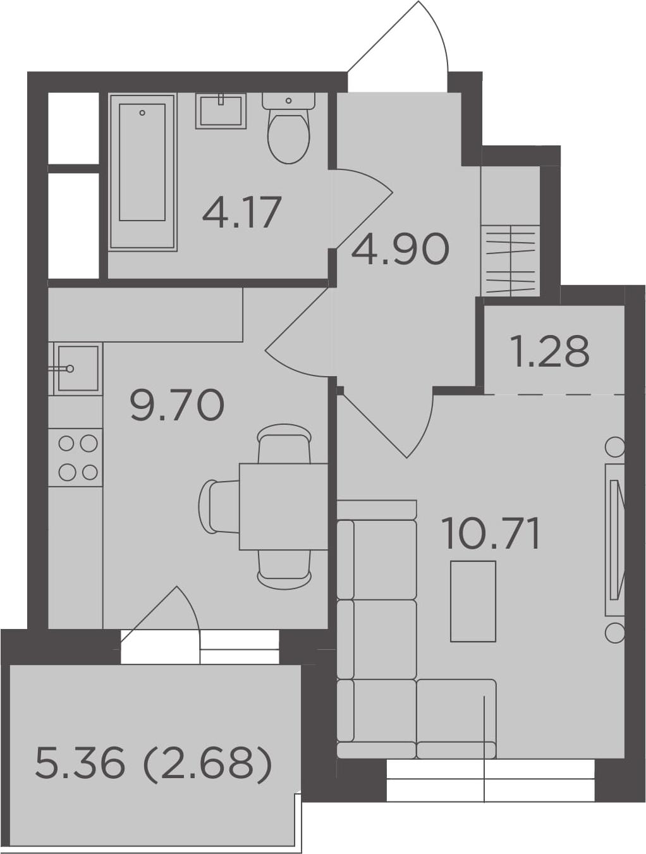 1-к.кв, 33.44 м², 24 этаж