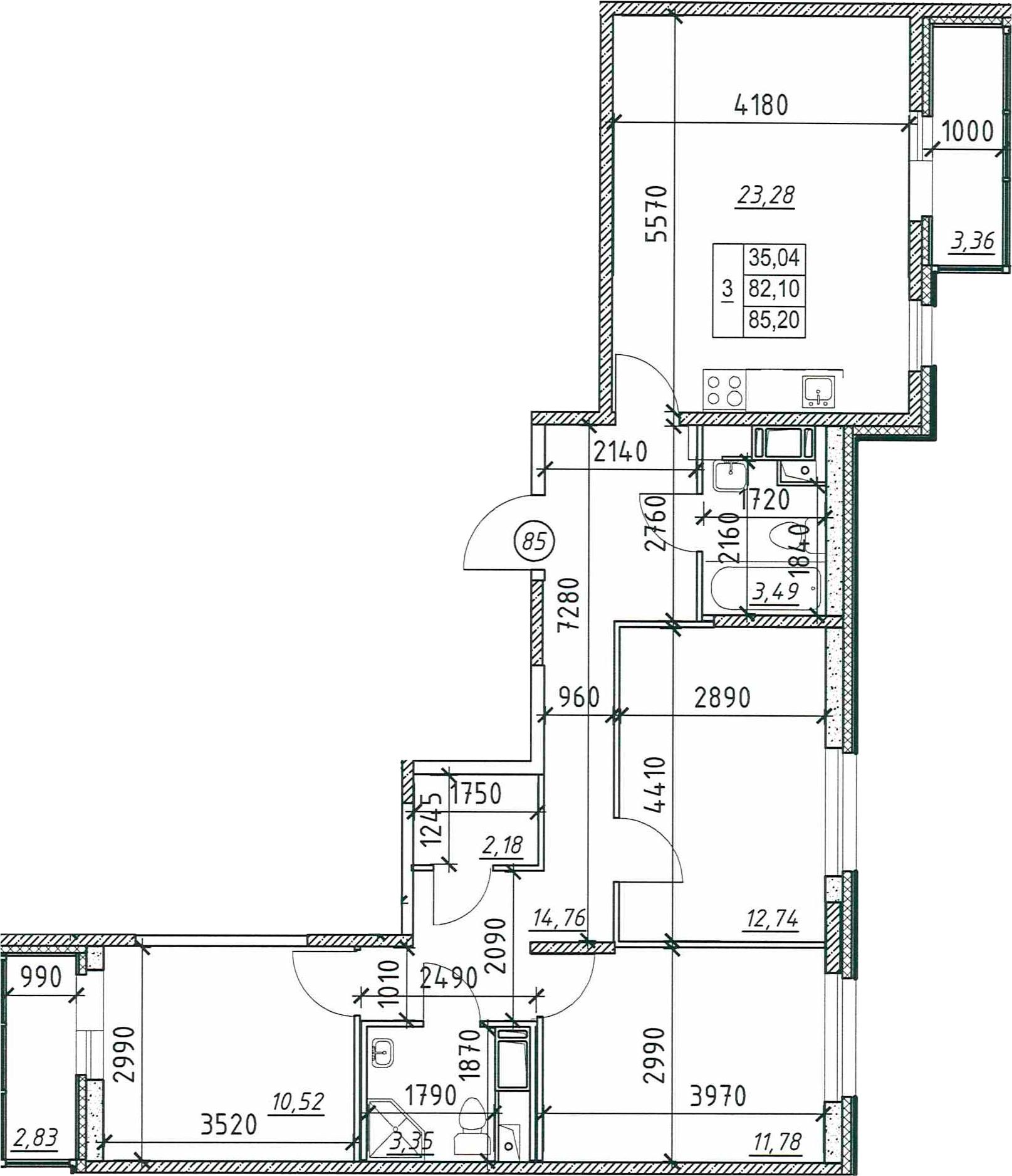 3-к.кв, 88.29 м²