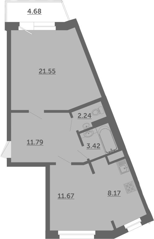 2Е-к.кв, 60.2 м², 2 этаж