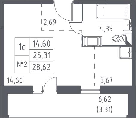 Студия, 28.62 м², 5 этаж