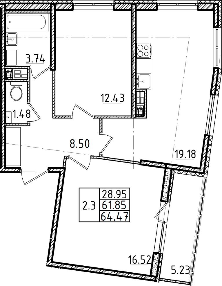 3Е-к.кв, 61.85 м², 4 этаж