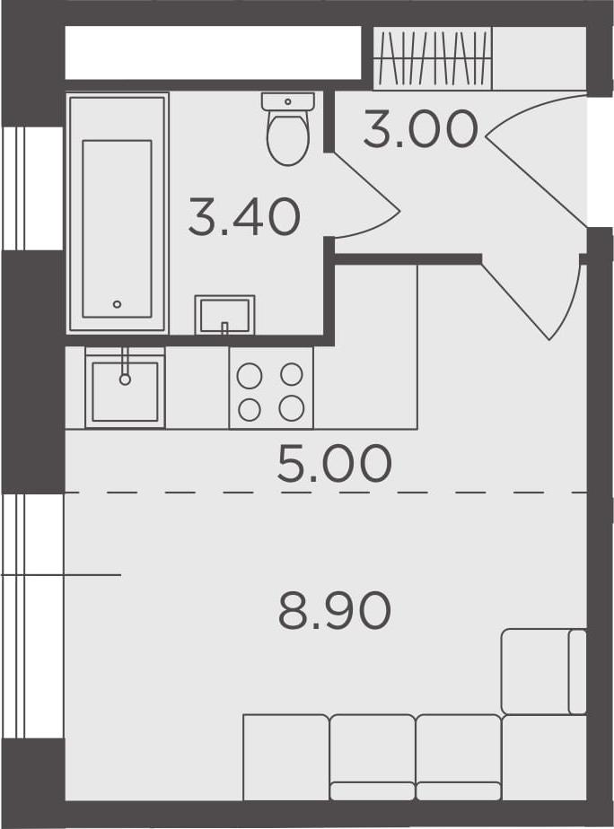 Студия, 20.3 м², от 15 этажа