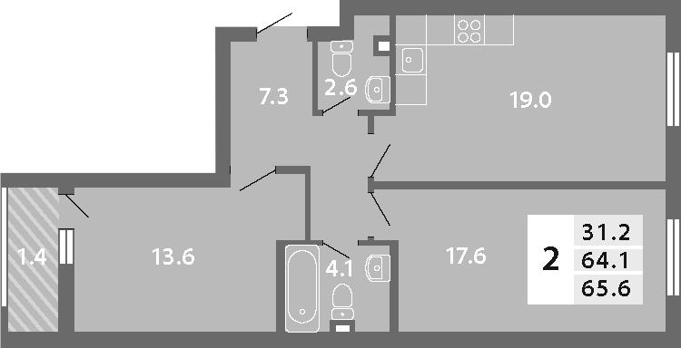 3-к.кв (евро), 66.96 м²