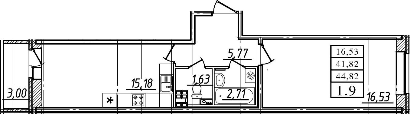 1-к.кв, 41.82 м², 17 этаж