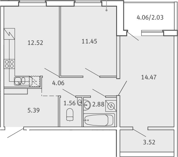 2-комнатная, 57.88 м²– 2
