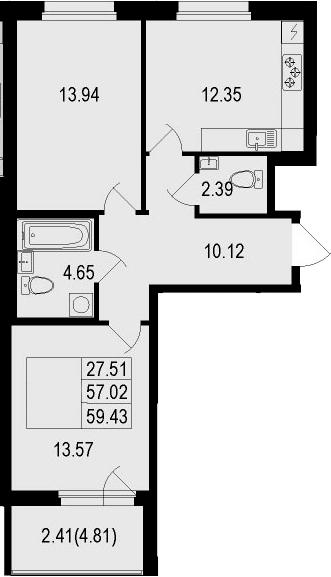 2-к.кв, 59.43 м²