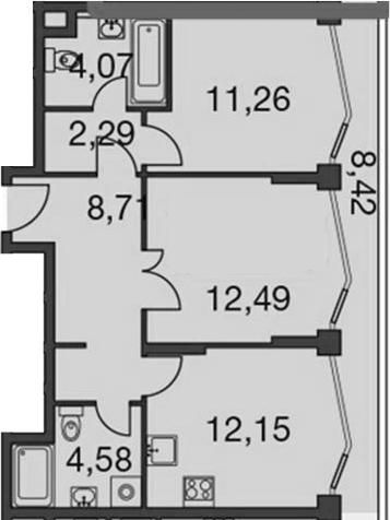 2-комнатная, 58.91 м²– 2
