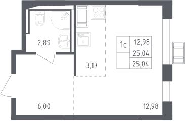 Студия, 25.04 м², 11 этаж