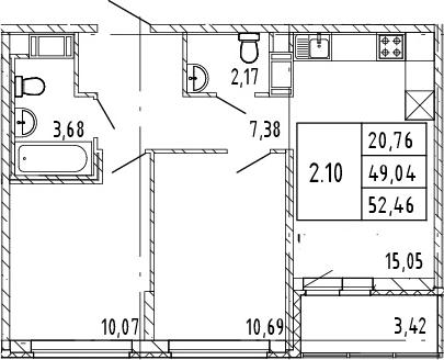 3Е-комнатная, 52.46 м²– 2