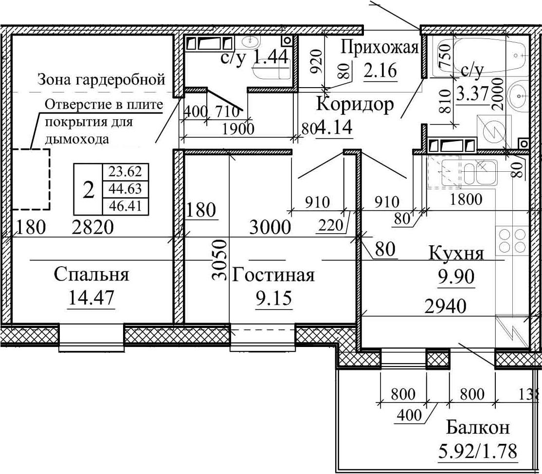 2-к.кв, 46.41 м²