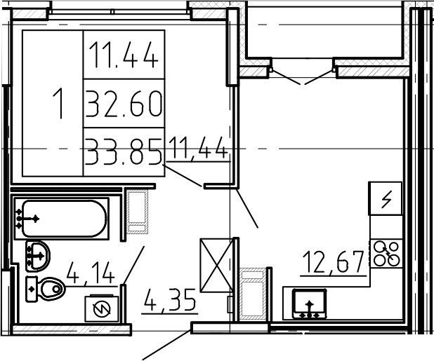 1-к.кв, 33.85 м²