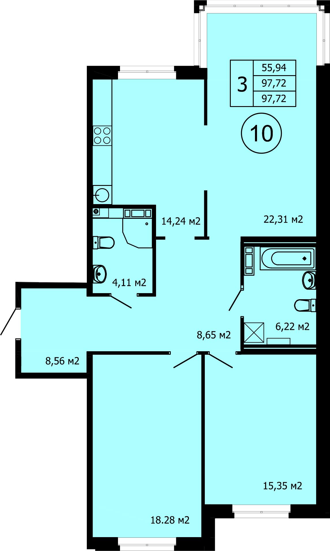 3-к.кв (евро), 97.72 м²