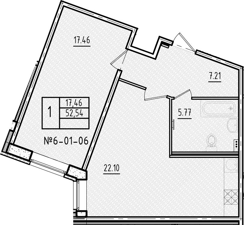 2-к.кв (евро), 52.54 м²